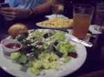 Salad, beer and side of macaroni and cheese